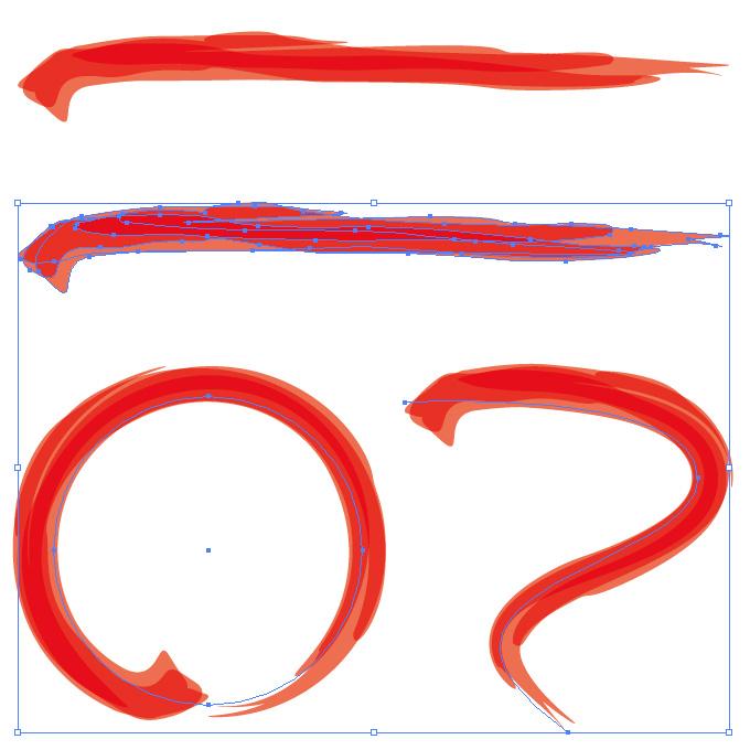 朱色の毛筆のアートブラシ素材