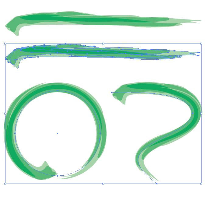 緑色の毛筆のアートブラシ