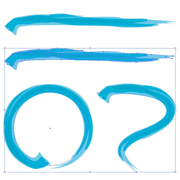 青色の毛筆のアートブラシ素材