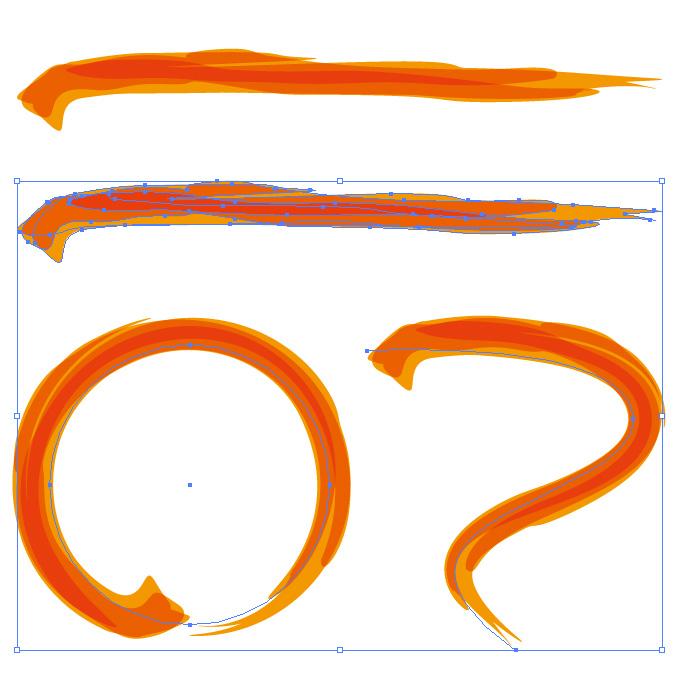 オレンジ色の毛筆のアートブラシ素材