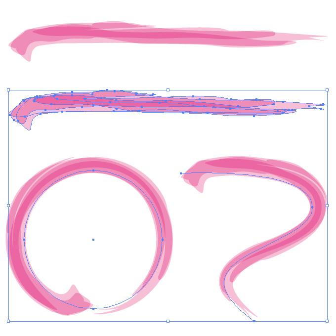 ピンク色の毛筆のアートブラシ素材