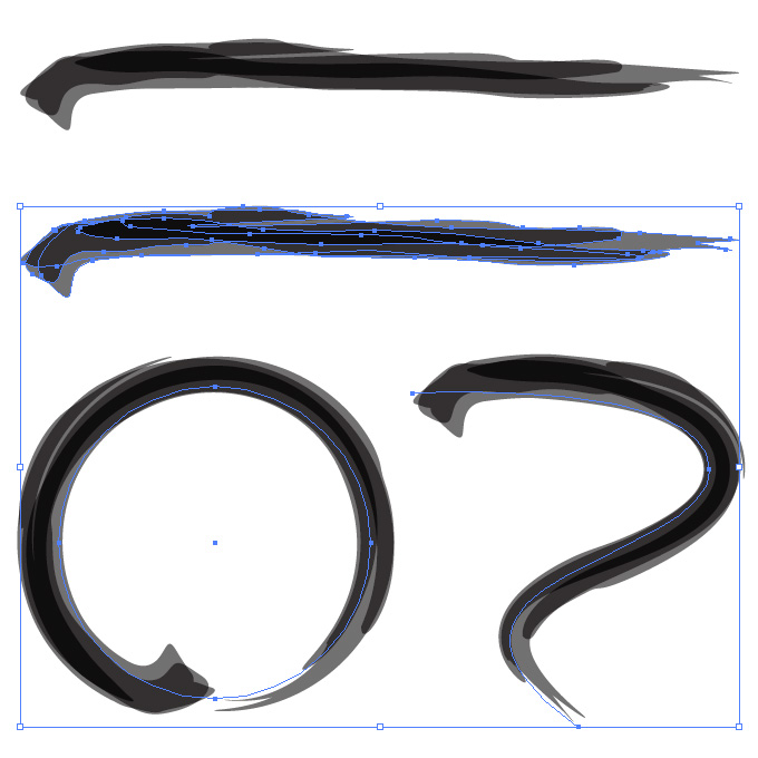 黒色の濃淡のある毛筆のアートブラシ