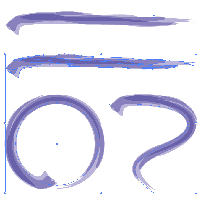 紫色の濃淡のある毛筆のアートブラシ素材