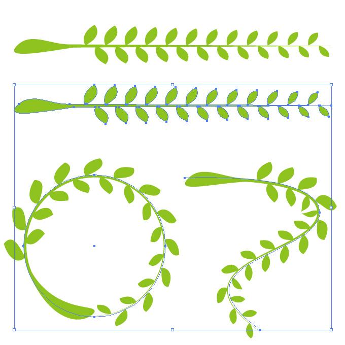 植物のイラストのアートブラシ素材