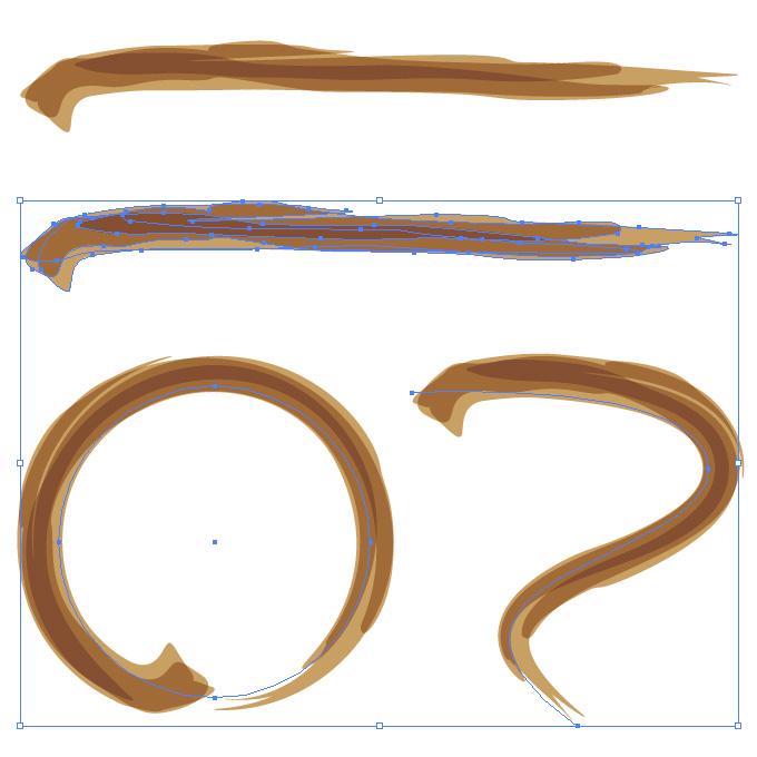 茶色の濃淡のある毛筆のアートブラシ素材