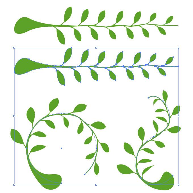 緑色のナチュラルな自然イラストのアートブラシ