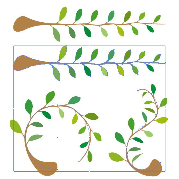 葉っぱと枝のイラスト アートブラシ