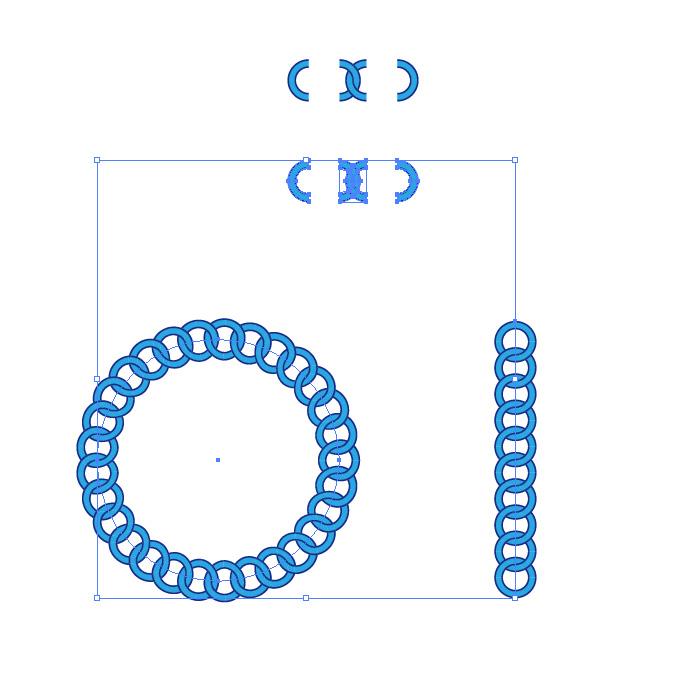 青い円形の鎖が連なるイラレ・パターンブラシ
