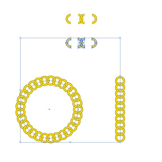 黄色い円形の鎖が連なるイラレ・パターンブラシ