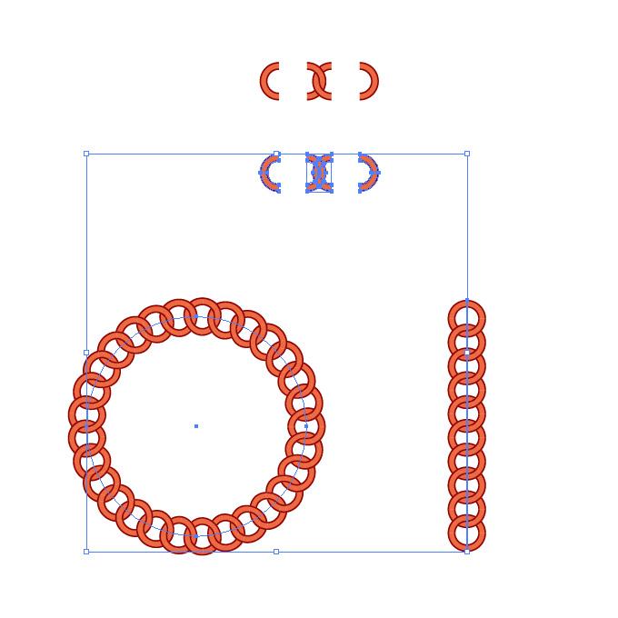 赤い円形の鎖が連なるイラレ・パターンブラシ