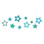 青色の星が散らばるイラレ・パターンブラシ