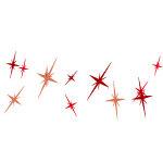 赤色のキラキラしたイラストが並ぶイラレ・パターンブラシ