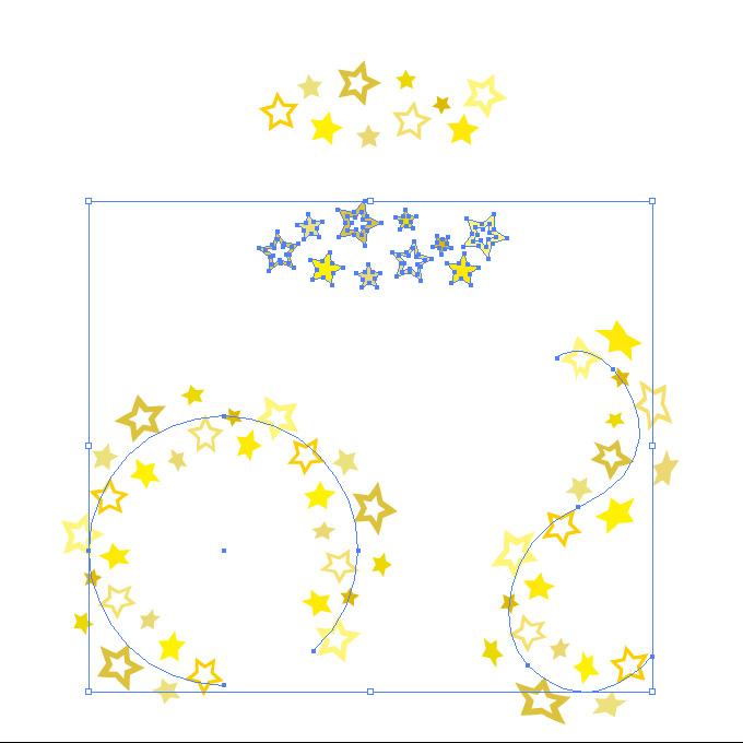 黄色の星が散らばるイラレ・パターンブラシ
