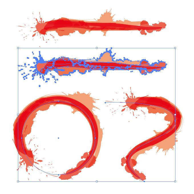 赤色のインクが飛び散るイラレ・アートブラシ