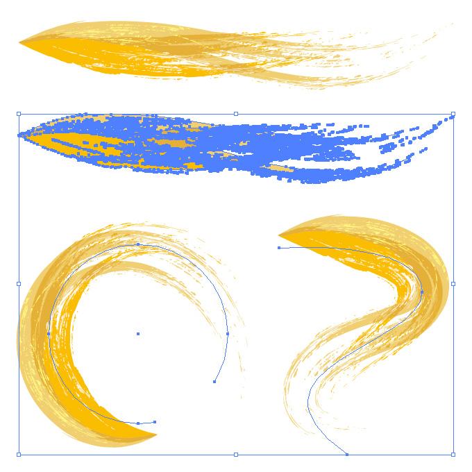 黄色の油絵の具のようなイラレ・アートブラシ