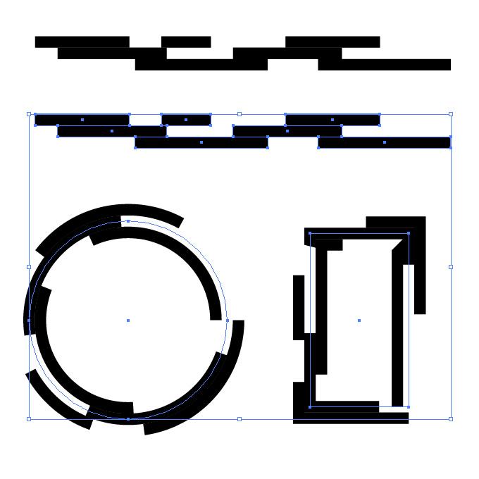 黒い四角が並ぶ幾何学的なイラレ・アートブラシ