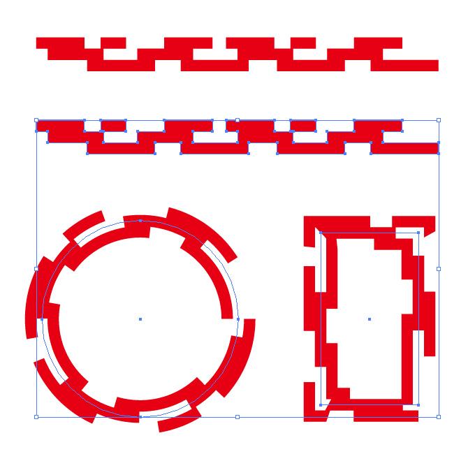 赤い四角が並ぶ幾何学的なイラレ・アートブラシ