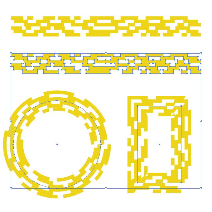 黄色い四角が並ぶ幾何学的なイラレ・アートブラシ