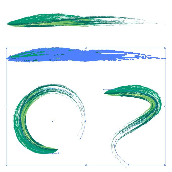 緑色の油絵の具のようなイラレ・アートブラシ素材