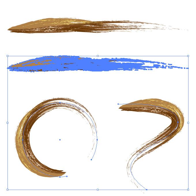 茶色の油絵の具で描いた筆のようなイラレ・アートブラシ