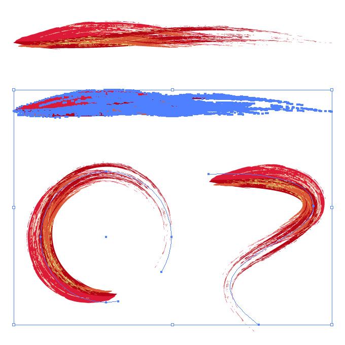 赤い油絵の具で描いた筆のようなイラレ・アートブラシ