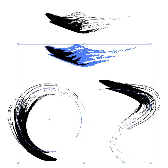 黒い墨で書いたような筆のイラレ・アートブラシ