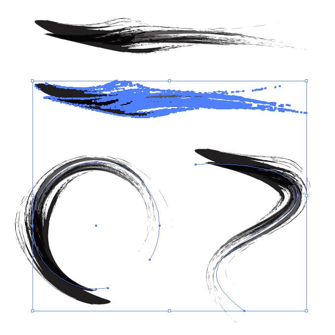 墨で書いたような筆のイラレ・アートブラシ