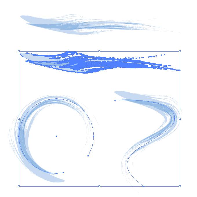 薄い青色の毛筆イラレ・アートブラシ
