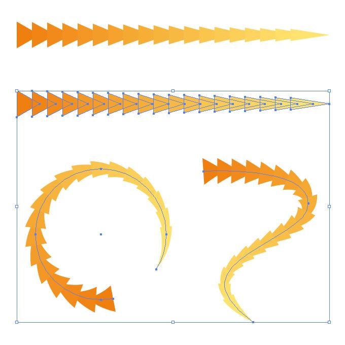オレンジ色の三角形が連続するイラレ・アートブラシ