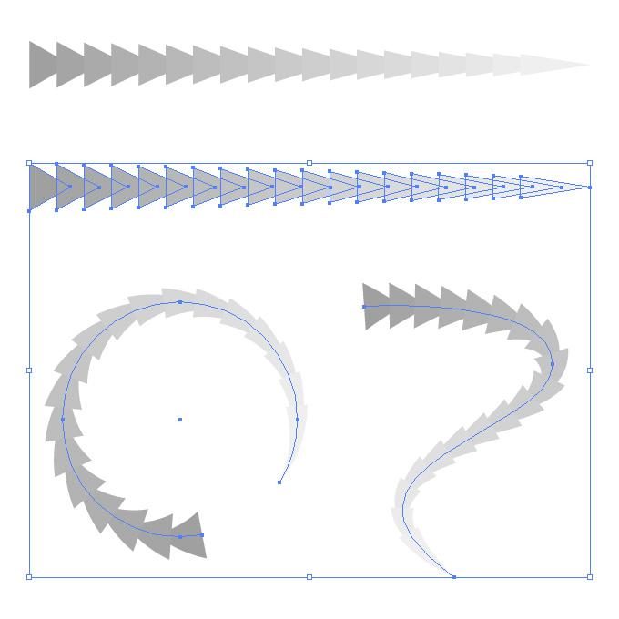 灰色の三角形が連続するイラレ・アートブラシ