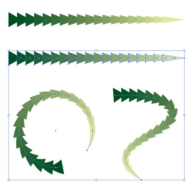 緑色の三角形が連続するイラレ・アートブラシ