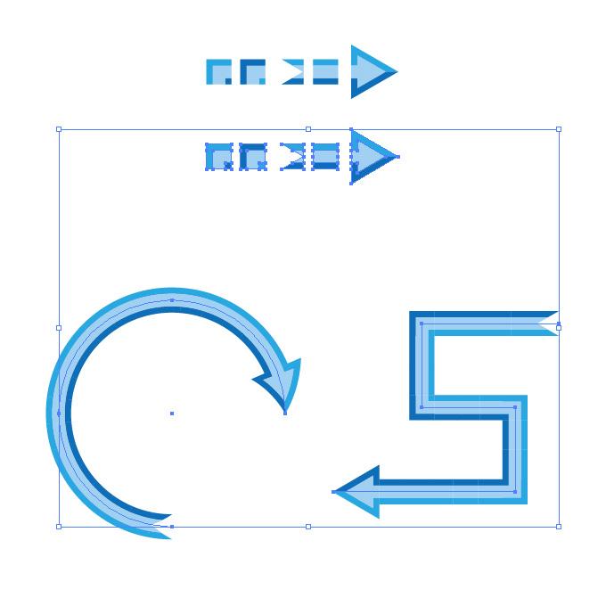 青色の矢印のイラレ・パターンブラシ