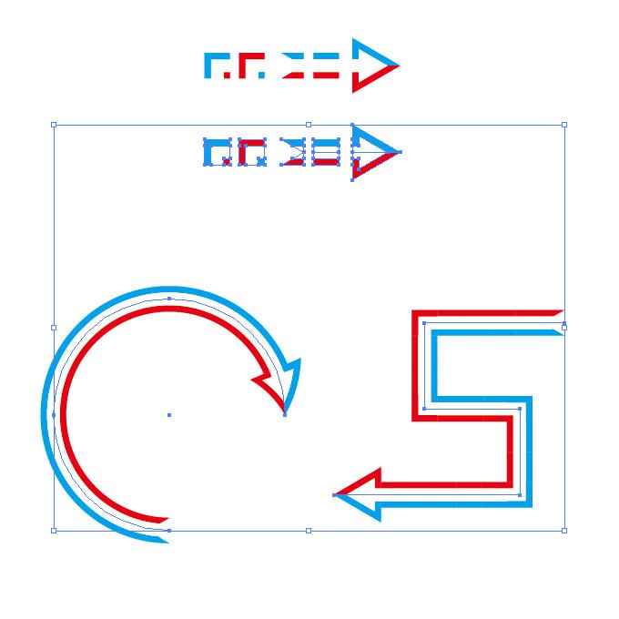 トリコロール配色の矢印のイラレ・パターンブラシ