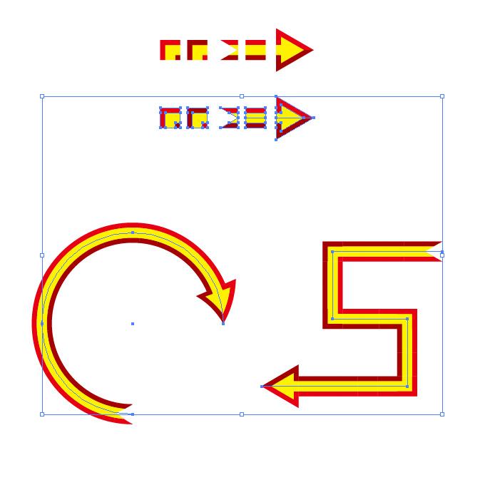 赤と黄色の矢印のイラレ・パターンブラシ