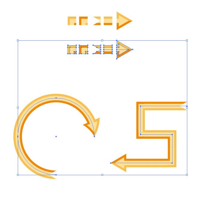 オレンジ色の矢印のイラレ・パターンブラシ