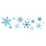 青色の雪の結晶が並ぶイラレ・パターンブラシ