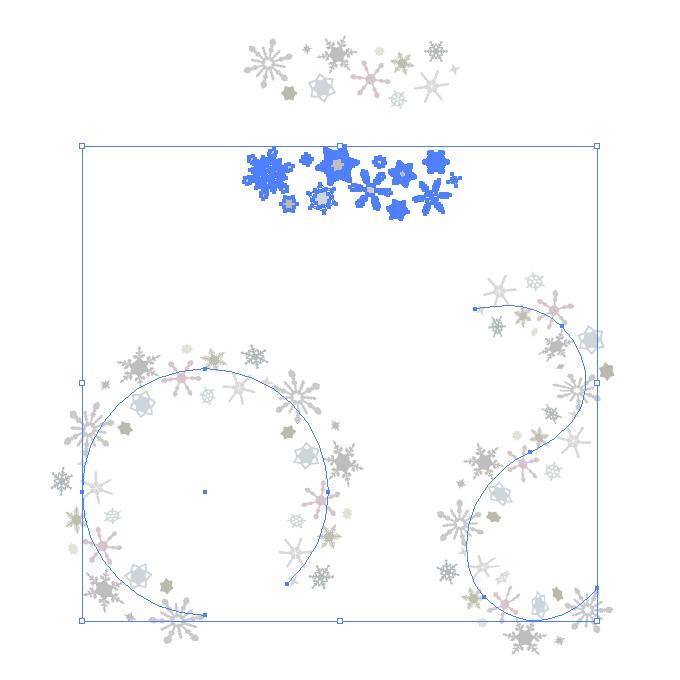 灰色の雪の結晶が並ぶイラレ・パターンブラシ