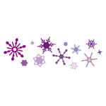 紫色の雪の結晶が並ぶイラレ・パターンブラシ