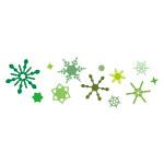 緑色の雪の結晶が並ぶイラレ・パターンブラシ