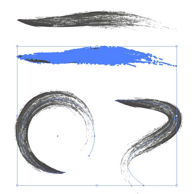 黒色のかすれた毛筆イラレ・アートブラシ