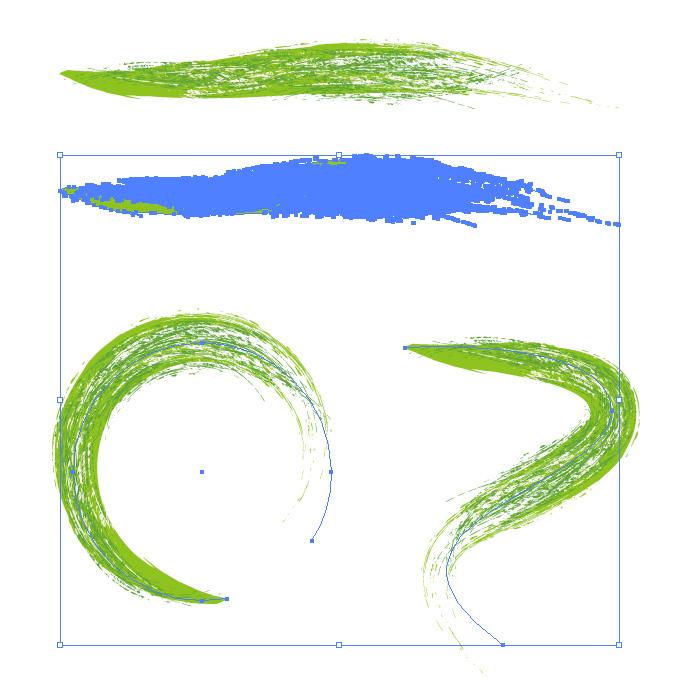 緑色のかすれた毛筆イラレ・アートブラシ
