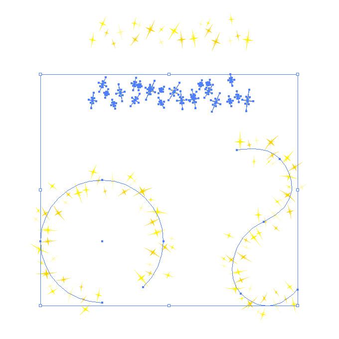 黄色のキラキラしたイラストが並ぶイラレ・パターンブラシ