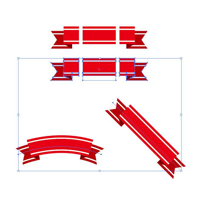 赤色のリボン・帯イラストのイラレ・パターンブラシ
