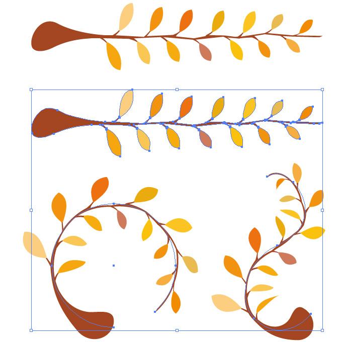 紅葉したようなオレンジの葉っぱと枝のイラスト アートブラシ