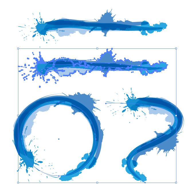 青色のインクが飛び散るイラレ・アートブラシ