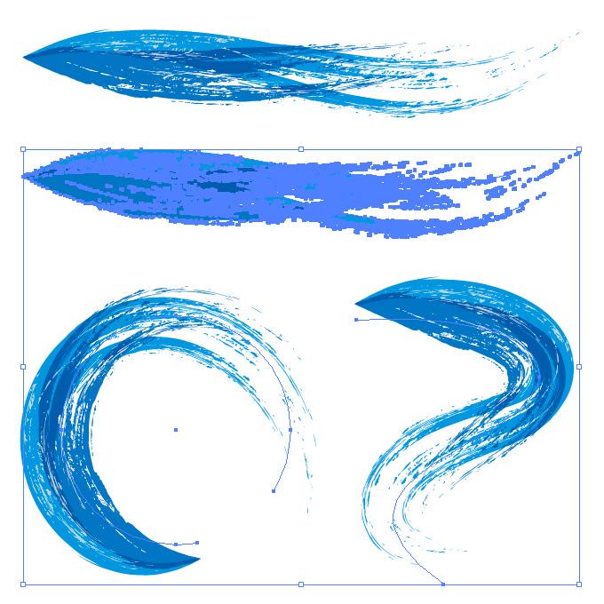 青色の油絵の具のようなイラレ・アートブラシ