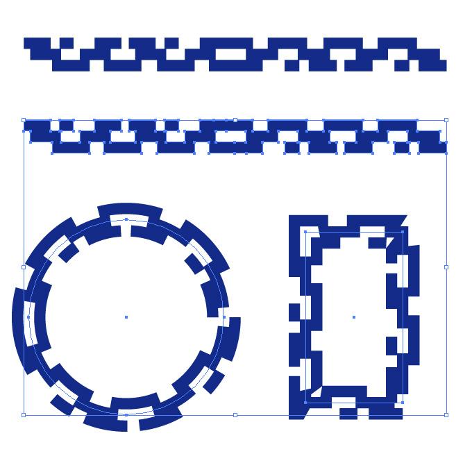 青い四角が並ぶ幾何学的なイラレ・アートブラシ