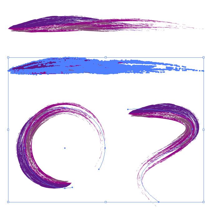 紫色の油絵の具のようなイラレ・アートブラシ