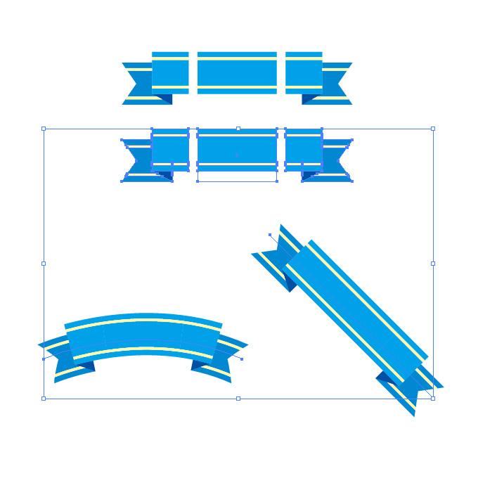 青色のリボン・帯イラストのイラレ・パターンブラシ
