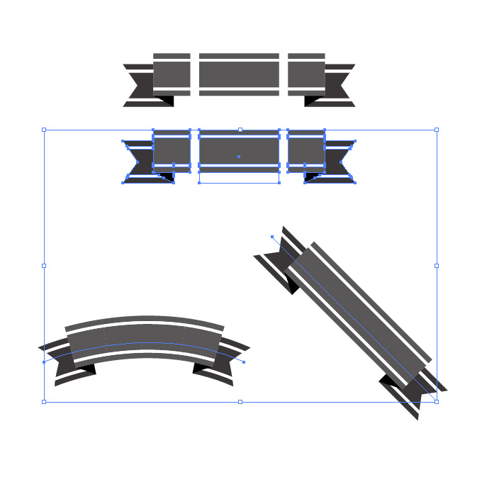 黒色のリボン・帯イラストのイラレ・パターンブラシ素材
